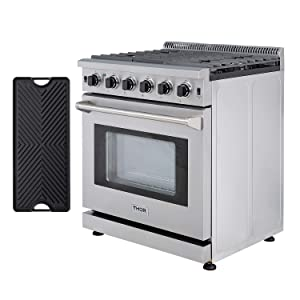 Thor Kitchen 30'' Gas Range with 4.55 cu.ft Convection Oven in Stainless Steel, 5 Burners, Double Burner Reversible Griddle, LRG3001U