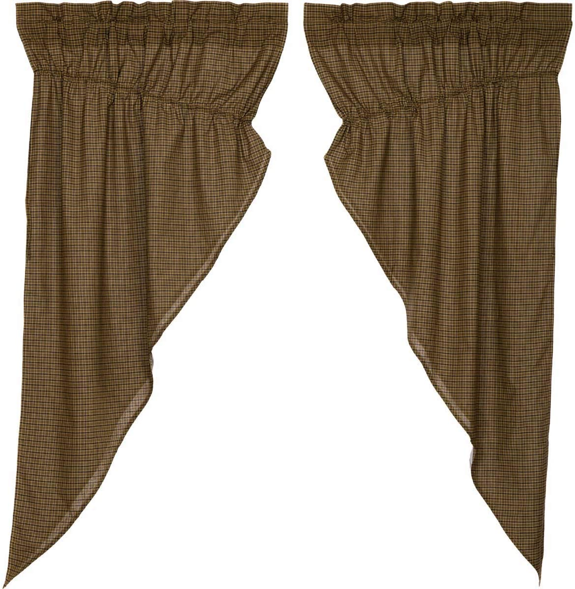 VHC Brands Tea Cabin Green Plaid Prairie Short Panel Set of 2 63x36x18 Country Rustic Curtains, Moss Green
