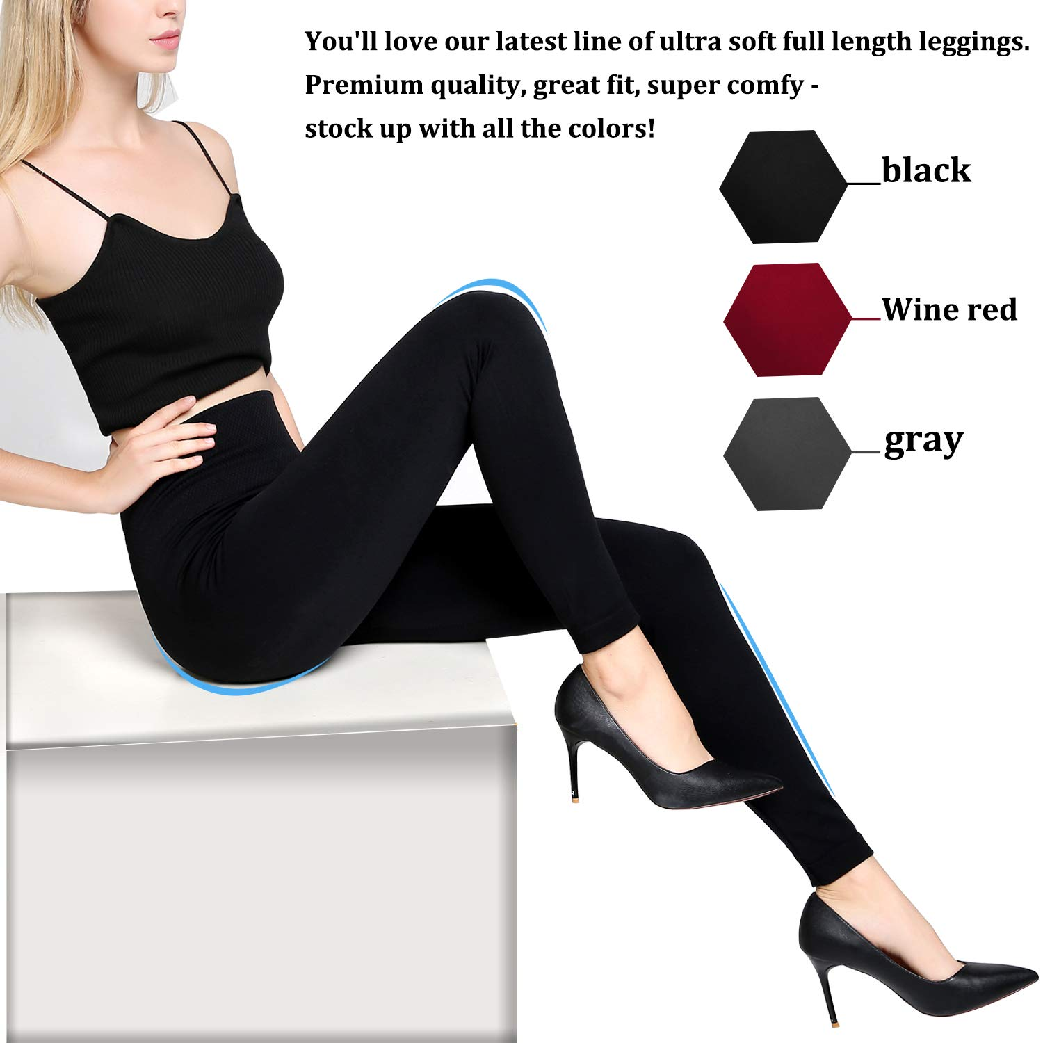 NEW SEAMLESS FOOTLESS FLEECE  Tights Cute Colors Navy Gray Red Black