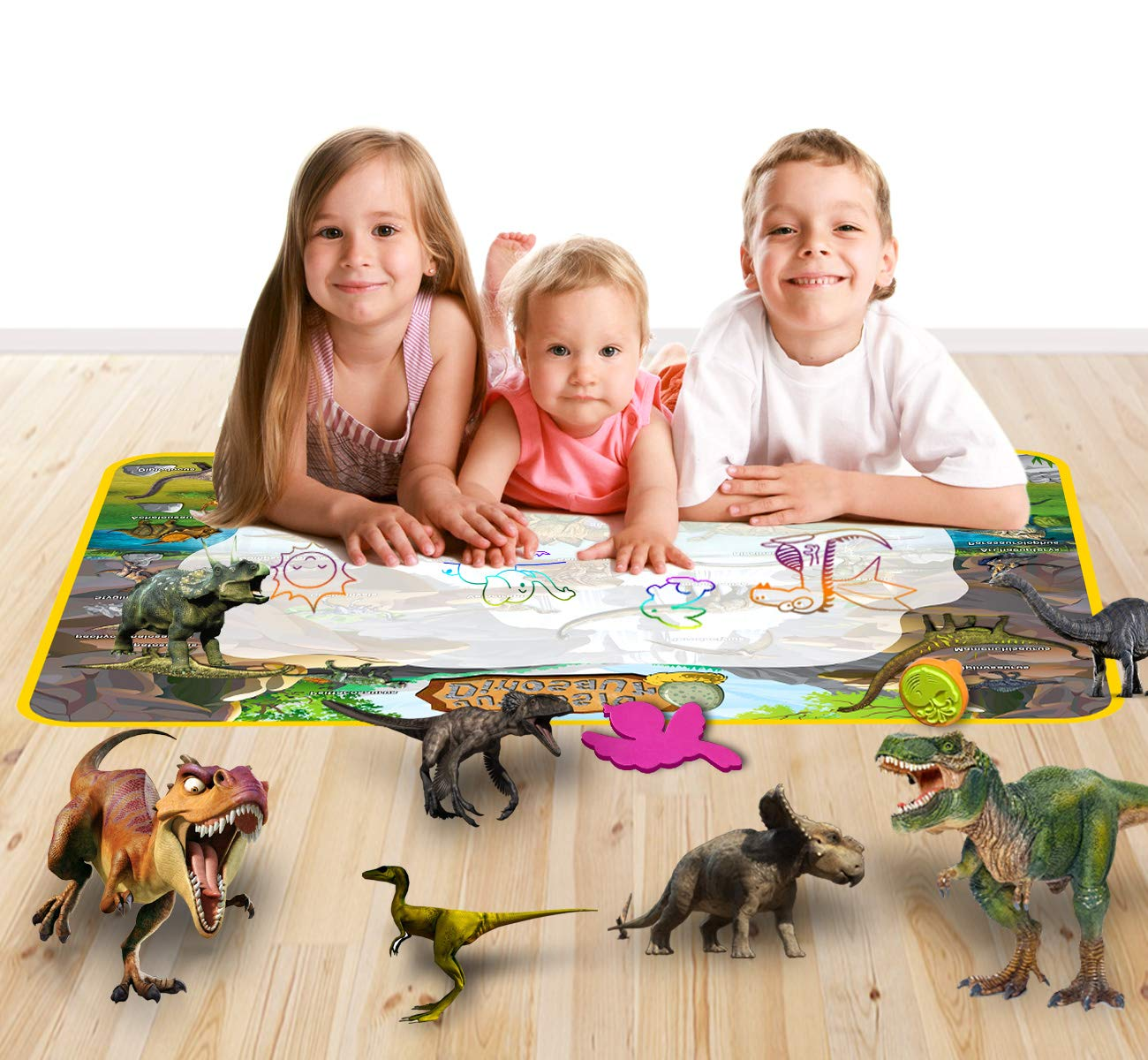 Chennys Aqua Doodle Mat Dinosaur Theme Water Drawing Mat for Kids Toddler Toy Painting Board with 2 Magic Pens and 18 Drawing Accessories for Boys Girls 38.8 X 28.5 2 Magic Brush Dinosaurs