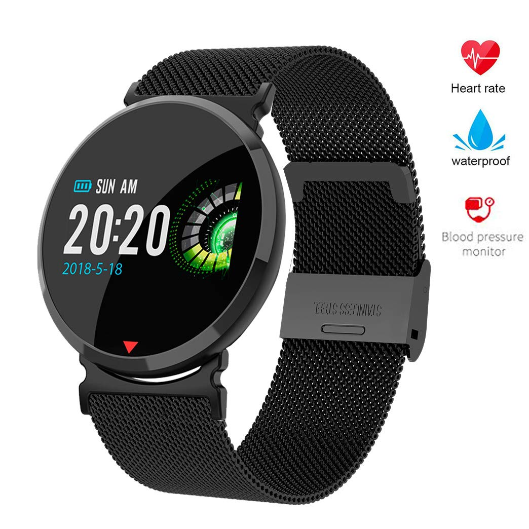 Byoung Sport Fitness Tracker Bracelet Steel Band,Touch Color Screen Activity Tracker with Camera Remote Control Female Smart Wrist Watch Blood Pressure Sleep Monitor Call SMS SNS Sedentary Remind by Byoung