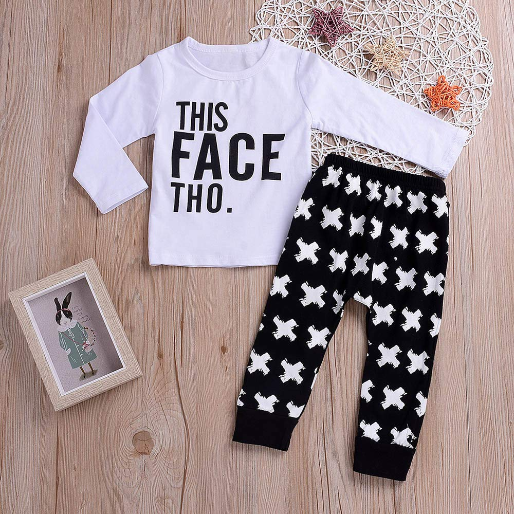 21cd644b1 Amazon.com: Clearance 2PCS Toddler Kids Baby Boys Girls Letter Print Top  Clothes+Long Pants Set Outfit: Clothing