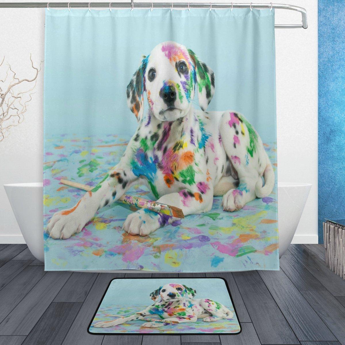 Amazon WOZO Silly Dalmatian Puppy Dog Polyester Fabric Bathroom Shower Curtain 60 X 72 Inch With Hooks Modern Doormat Rug 236 157