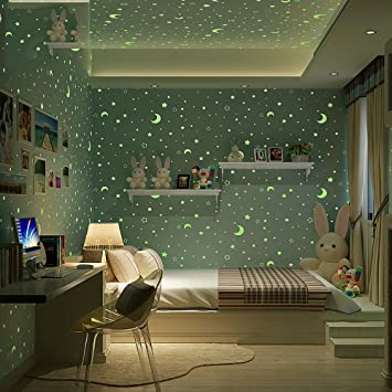 HLMYYO Wallpaper grüne 3d vlies kinder tapete leuchtende sterne ...
