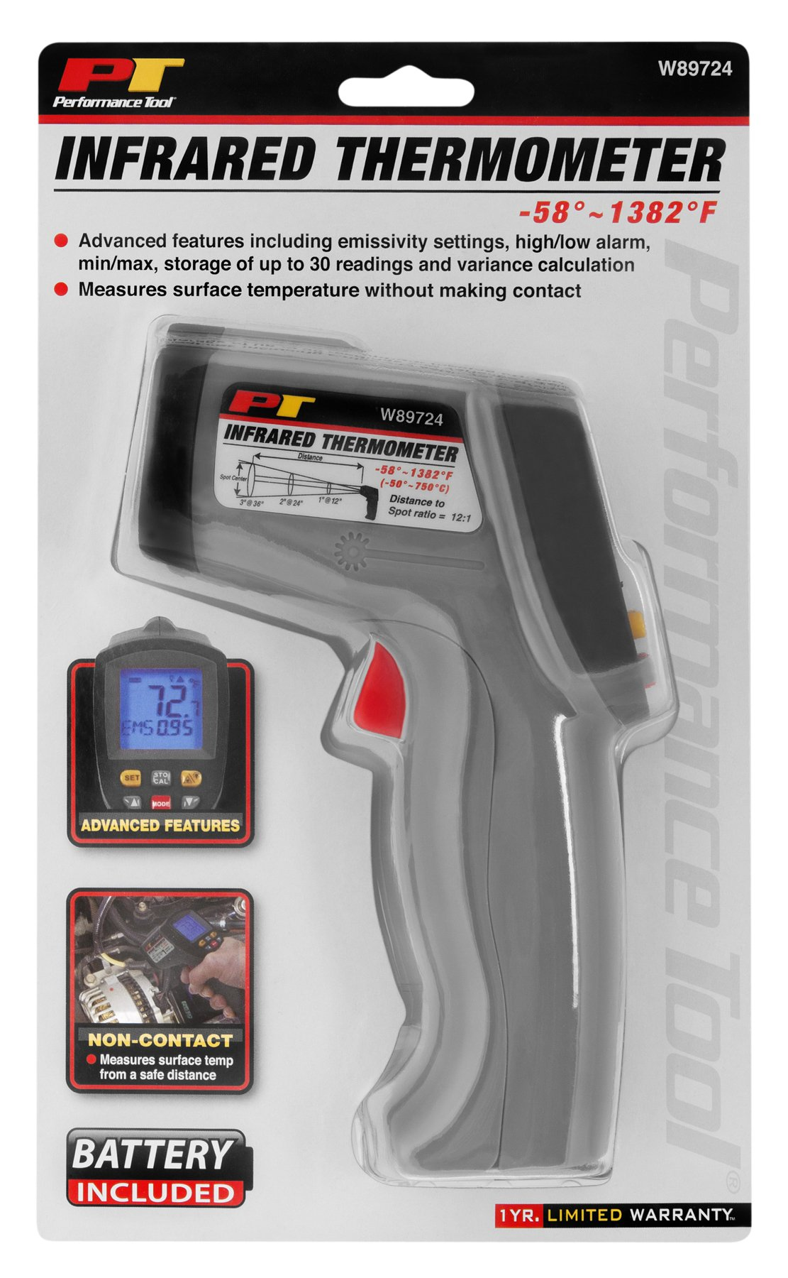 Performance Tool W89724 Deluxe Infrared Temp Gun (-58 To 1382º F & -50 To 750º C)