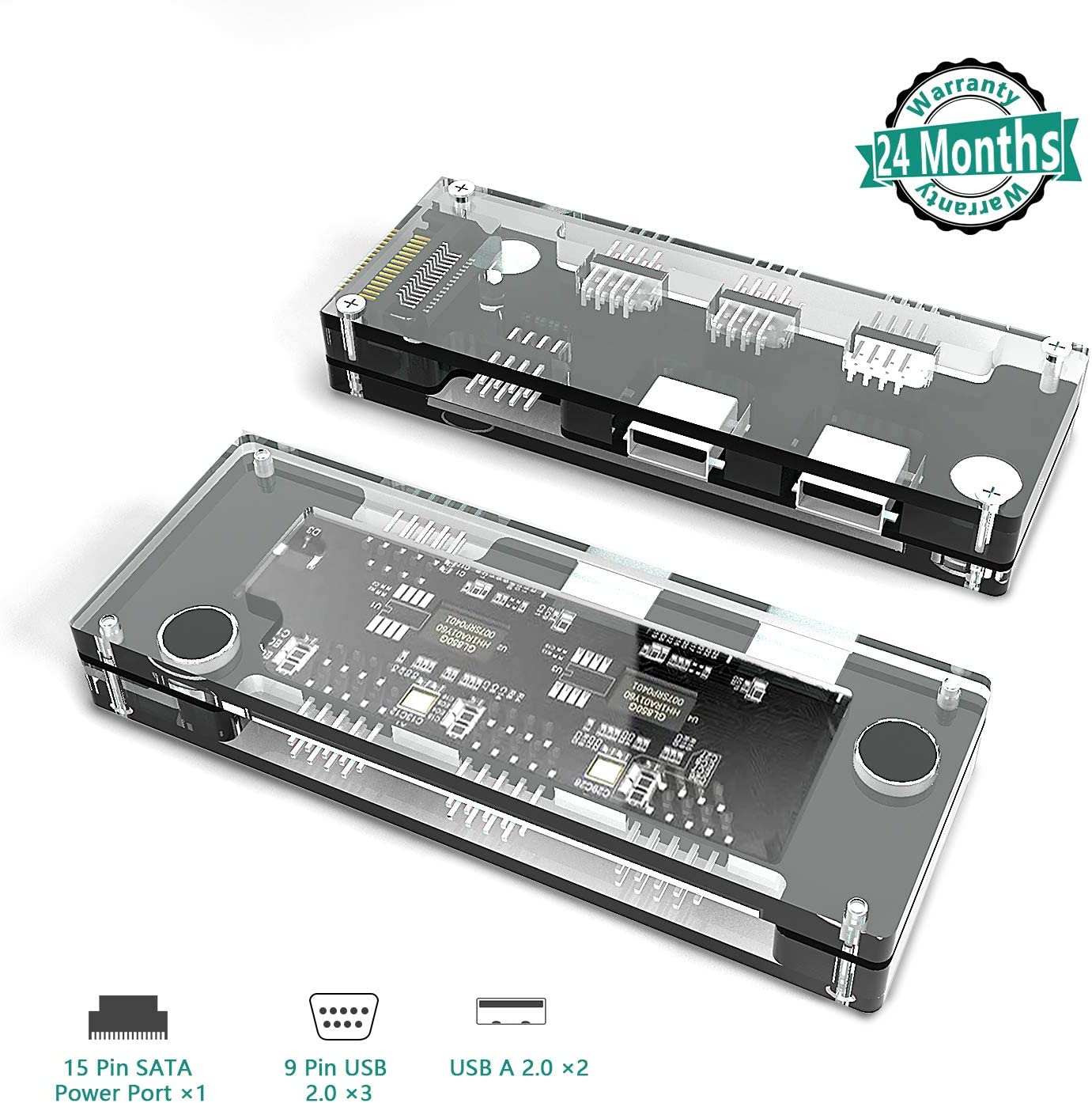 KETAKY Motherboard 9 Pin USB Hub Adapter, 9 Pin USB 2.0 Expand to 3 USB 2.0 (9 Pin) and 2 USB-A 2.0 Ports, with 15 Pin SATA Power Ports, for Desktop Computers, Support Windows Linux MAC OS