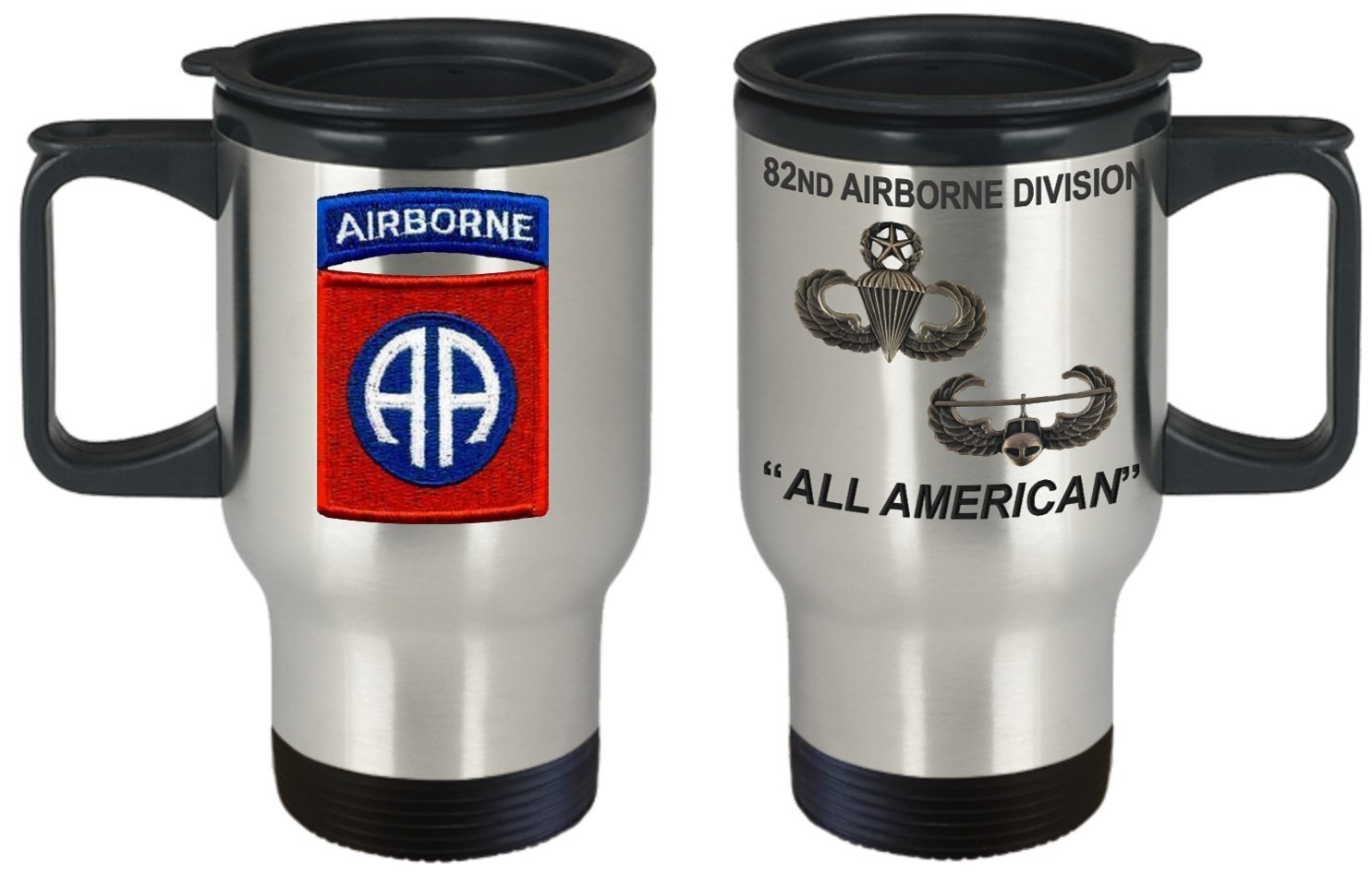 82ND AIRBORNE Military Stainless Steel 14 oz Travel Mug - 82 ABN Crest with Master Jump Master and Air Assault Wings - All American Travel Mug - America's ABN DIV! by Marie'sMerch