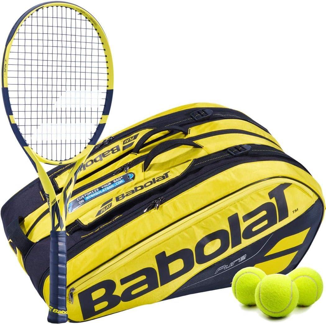 Babolat Pure Aero テニスラケットキットセット イエロー/ブラック ピュアエアロテニスバッグバックパック テニスボール付き 12 Racquet Bag 4 1/2\