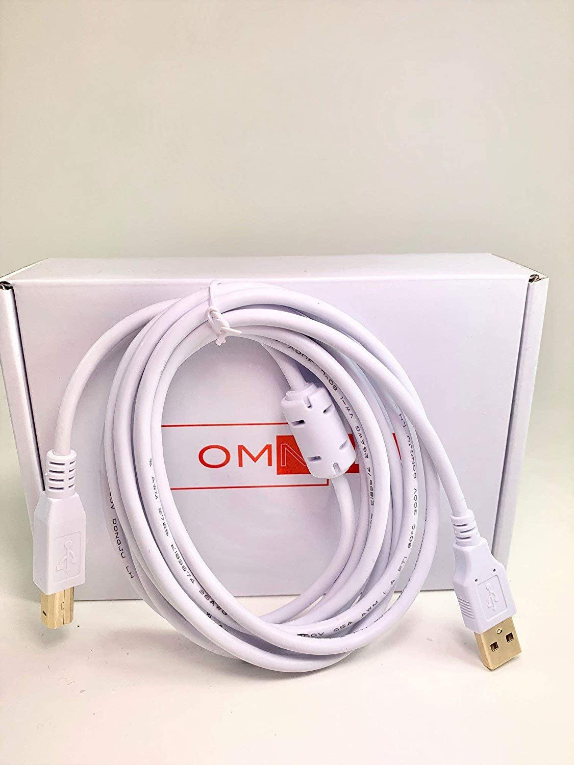 OMNIHIL 8FT-White High Speed USB 2.0 Cable Compatible with Fujitsu fi-6670A
