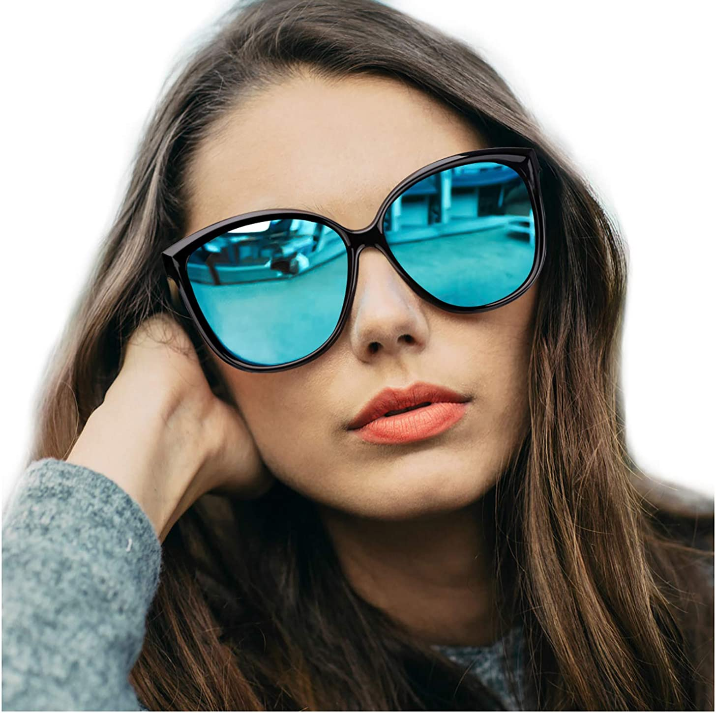 Sunglasses UV400 Women sun glasses//Eyewear Outdoor Cat Eye Blue Mirrored lens