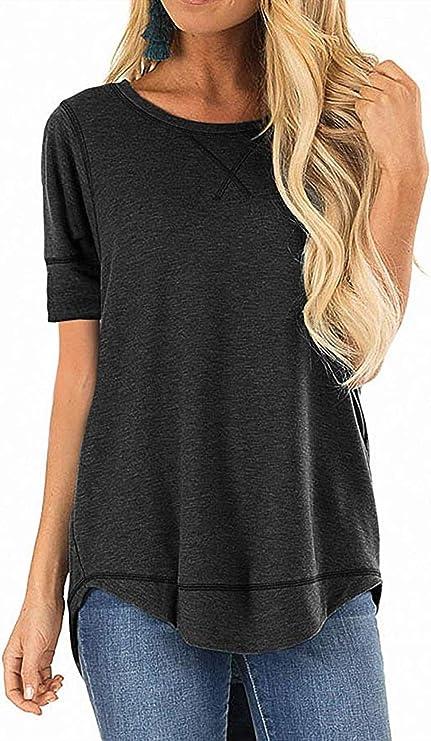 haoricu Womens Basic T Shirt Summer Loose Soft Casual Tee Top Round Neck Short Sleeve Yoga Shirt Top