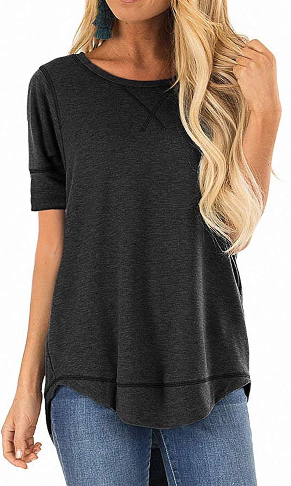 MixShe Summer Tops for Women Short Sleeve Casual T Shirts Loose Tunic Top