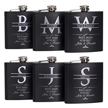 P Lab Set Of 6 Groomsmen Gift Groomsman Gifts For Wedding Wedding Favor Customized Flask Set W Optional Gift Box Engraved 6oz Stainless Steel