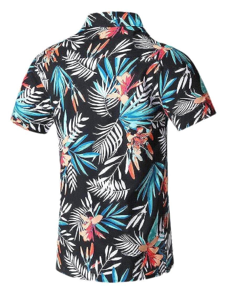 Domple Mens Button Down Loose Floral Print Short Sleeve Beach Summer Shirt