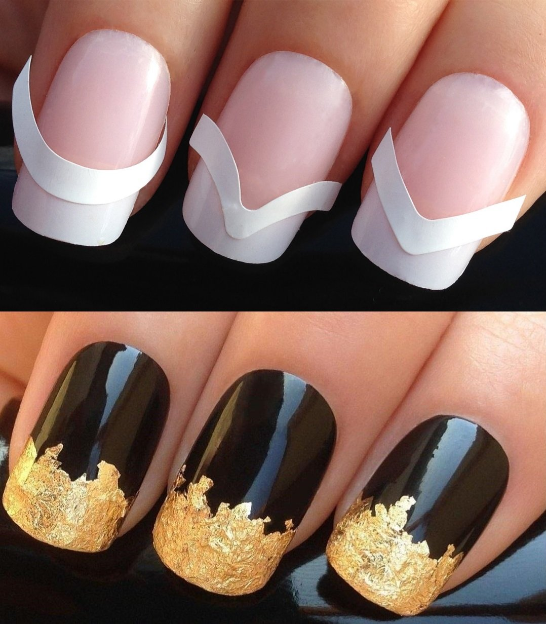 NAIL ART SET #172. x48 FRENCH MANICURE TIP GUIDES & A LARGE GOLD ...