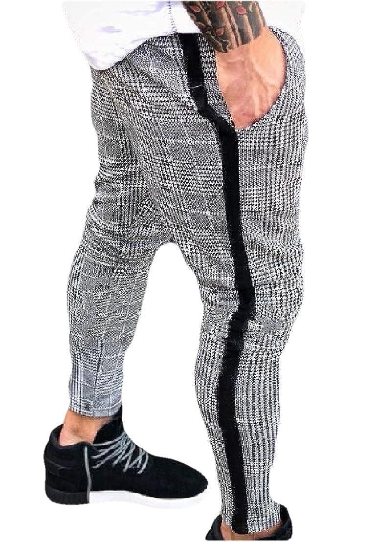 UUYUK Men Hip-hop Elastic Waist Checked Drawstring Zipper Basic Long Pants