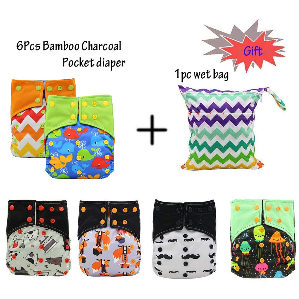 Baby Washable Reusable All In Two Adjustable Cloth Nappy Diapers Cover One Size Double Gusset 6Pcs