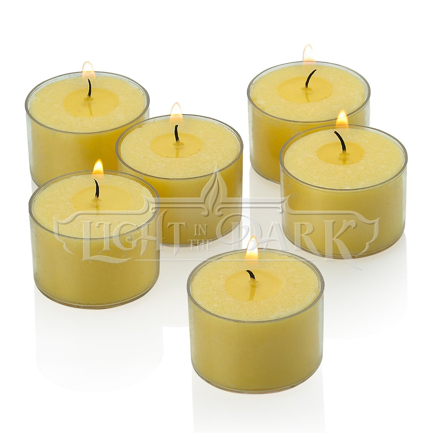 Ivory Tealight Candles with Clear Cup - Set of 72 Unscented Tea Lights - 8 Hour Burn Time