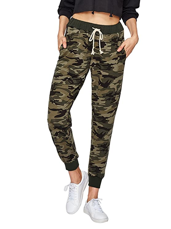 SweatyRocks Women Pants Casual Tie Waist Yoga Jogger Pants Camo S