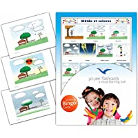 Weather and Seasons Flashcards in French Language - Flash Cards with Matching Bingo Game for Toddlers, Kids, Children and Adults - Size 4.13 × 5.83 in - DIN A6