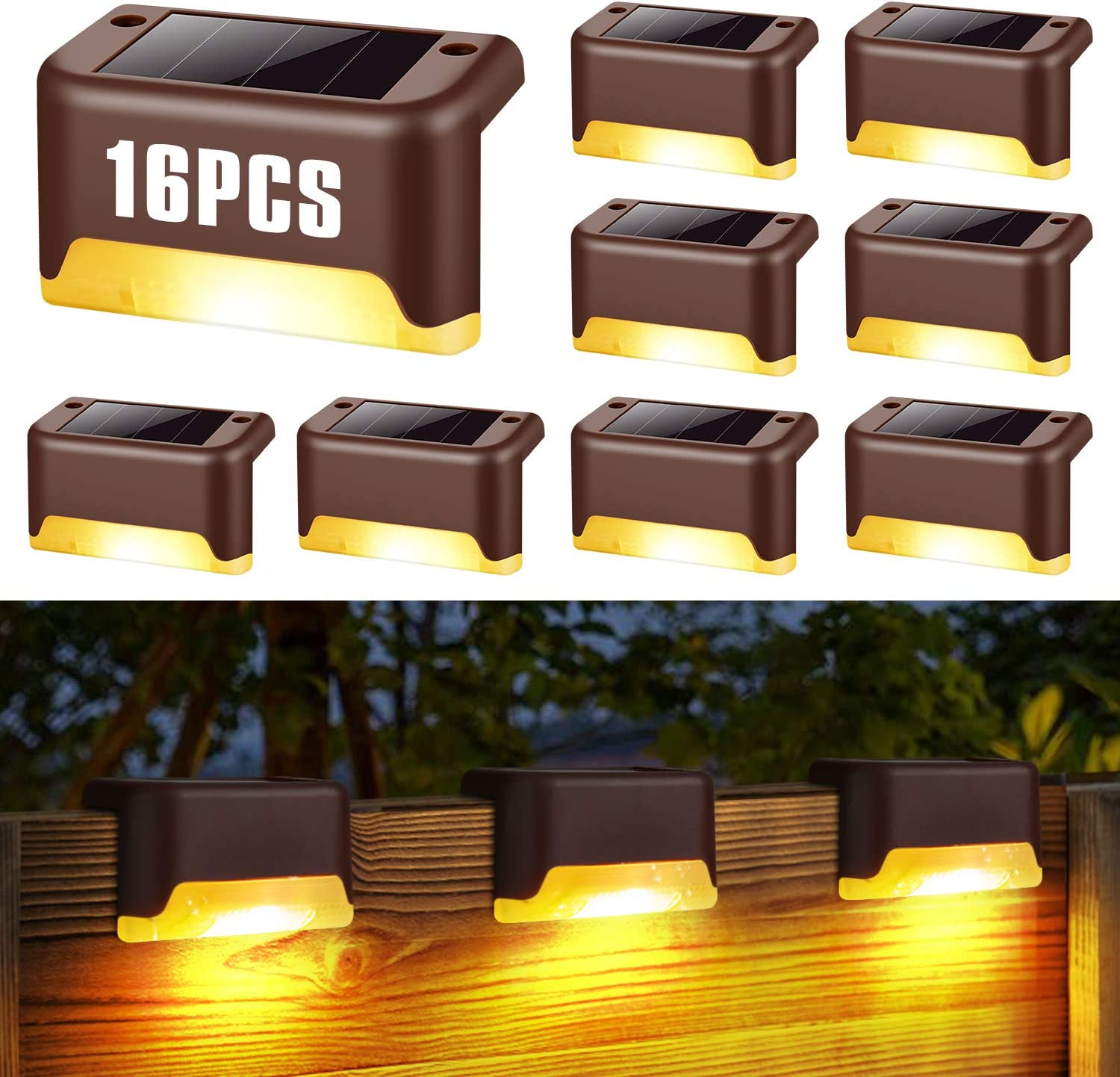 Solar Deck Lights, Solar Fence Light, 16solar Lights, Fence Lights, Outdoor walkways, courtyards, terraces, Stairs, Steps and Fences Outdoor Waterproof Solar Step Lights (Warm White Series)
