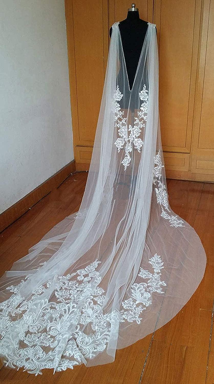 Faithclover Wedding Capes Lace Tulle Cathedral Length Appliques Long Bride Wraps Shawls