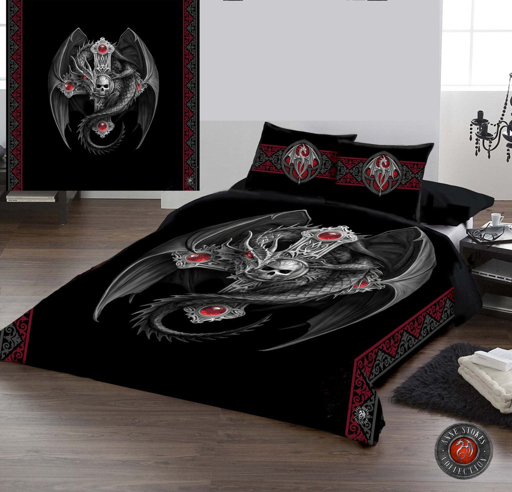 GOTHIC DRAGON - Bettdecke & Kissen-Abdeckungen-Fall SET UK KING  BED Art von Anne Stokes