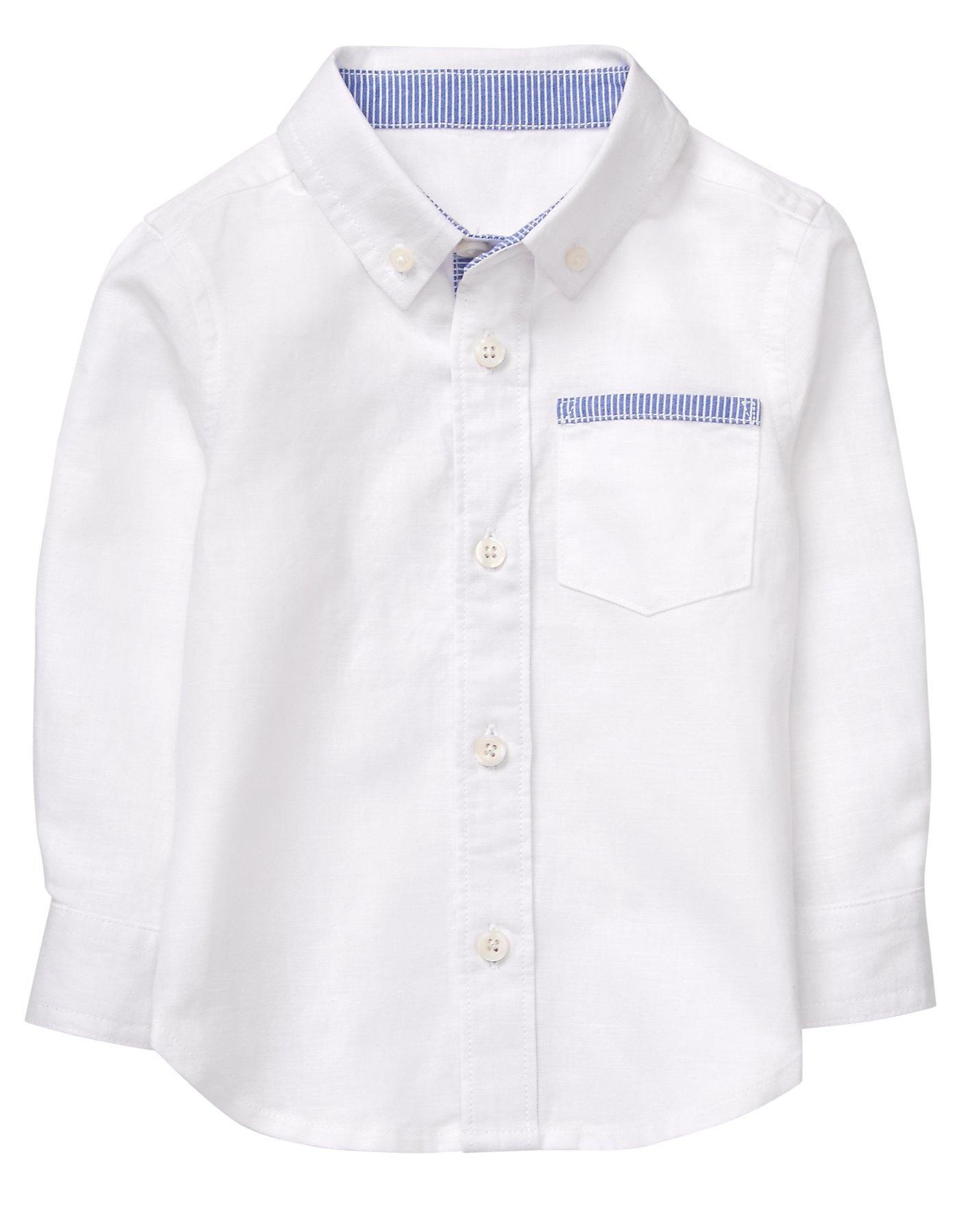 Gymboree Baby Boys Long Sleeve Button up Shirt, White, 18-24 Mo by Gymboree (Image #1)