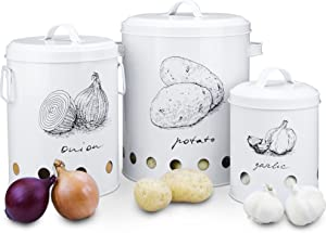 Farmhouse Canister Sets for Kitchen Counter and Rustic Home Decor, Vintage Pantry Organisation and Food Storage Containers for Vegetables, Potato Storage Bin, Onion Storage Containers, Garlic Keeper