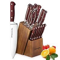 Set Coltelli, Emojoy SetColtelliCucina 15 Pezzi, Coltelli da Cucina Professionale con Acciaio Tedesco , Ceppo Coltelli in Legno