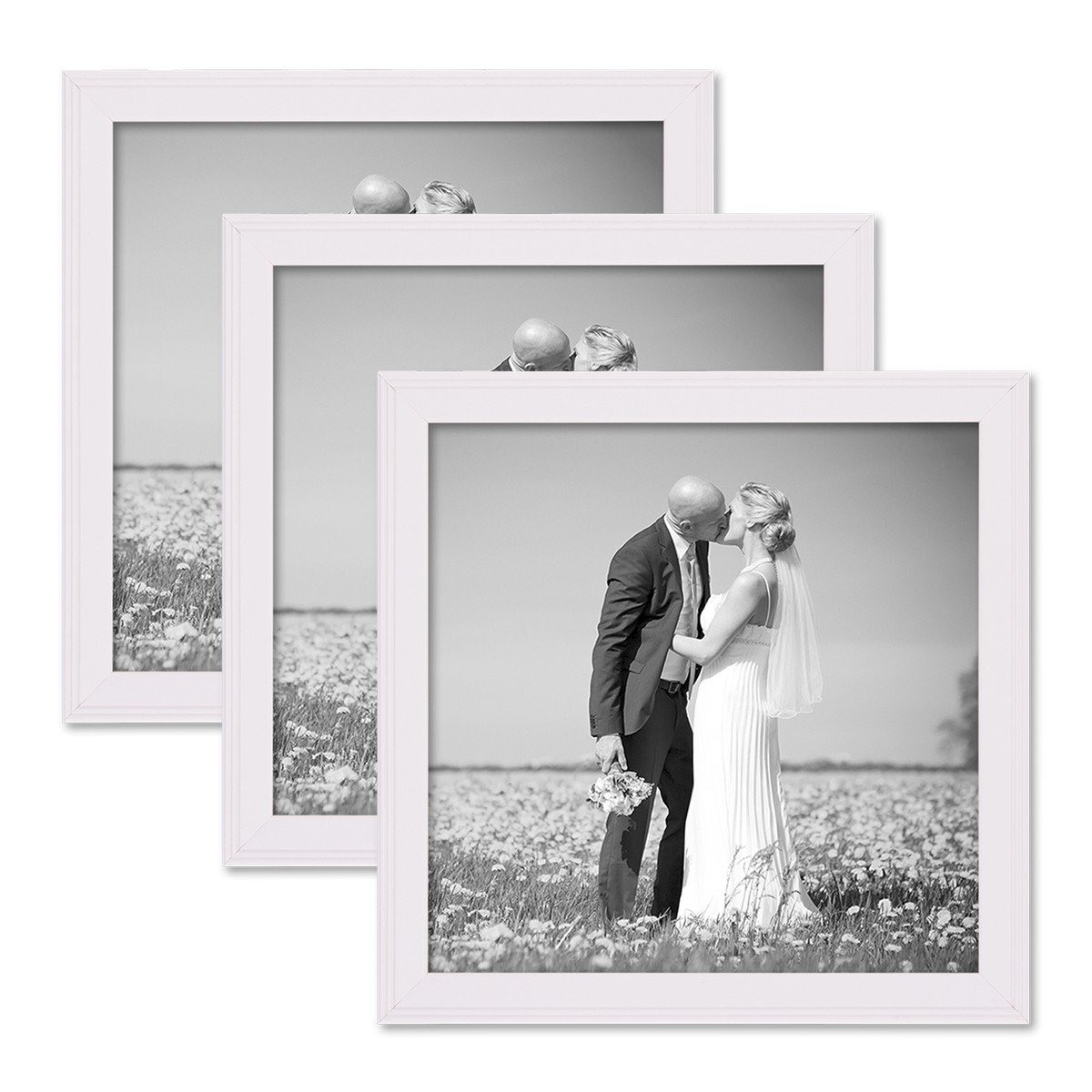Amazon.de: PHOTOLINI Landhaus Stil Bilderrahmen Set 20x20 Cm Weiss  Massivholz 3er Set