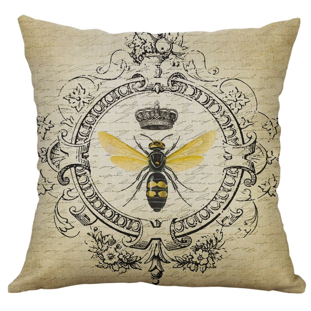 TiTCool 2019 Pillow Covers 18x18 inch Throw Pillow Cases Decorative Vintage Insect Series Home Outdoor (B)