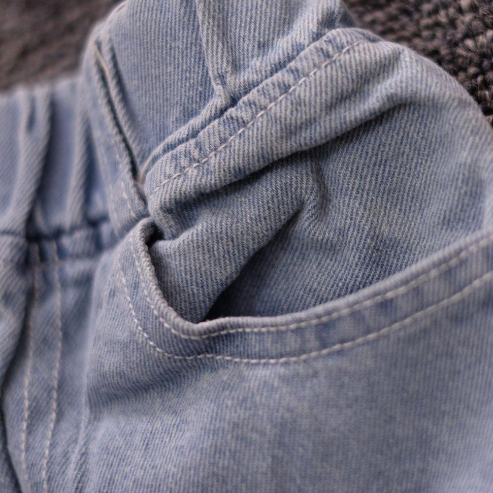 Dragon Honor Little Boys Girls Elastic Waist Broken Hole Jeans Denim Pants Trousers
