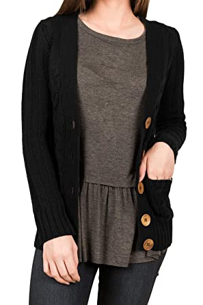 3e0848f5a8e Veroge Women s Open Front Button-End 2 Side Pockets Cardigan Coats Black S