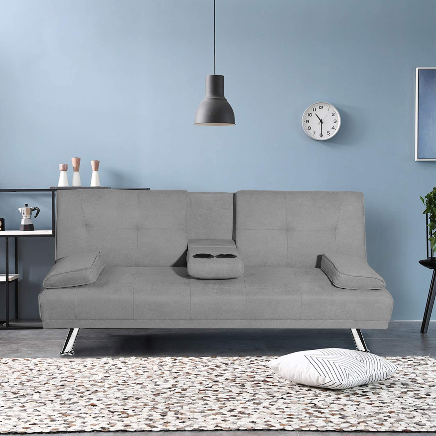 MOOSENG Futon Sofa Bed for Living Room Fold Up & Down Recliner Couch w/Metal Legs and 2 Cup Holders Convertible Love Seat Home Furniture for Apartment Essential, Light Gray