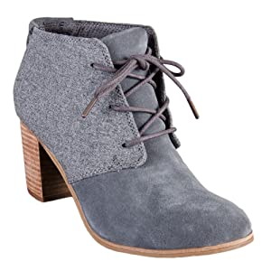 Toms Lunata Lace-Up Booties Castlerock Suede/Wool 10009597 Womens 7