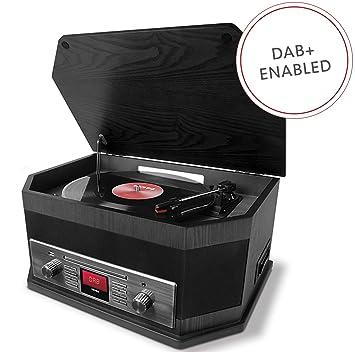 ION Audio Octave LP - Tocadiscos Retro 8 en 1 con Transmisión por Bluetooth, Reproductor de CD - Cassette, Reproducción - Grabación USB, Aux, DAB + / ...