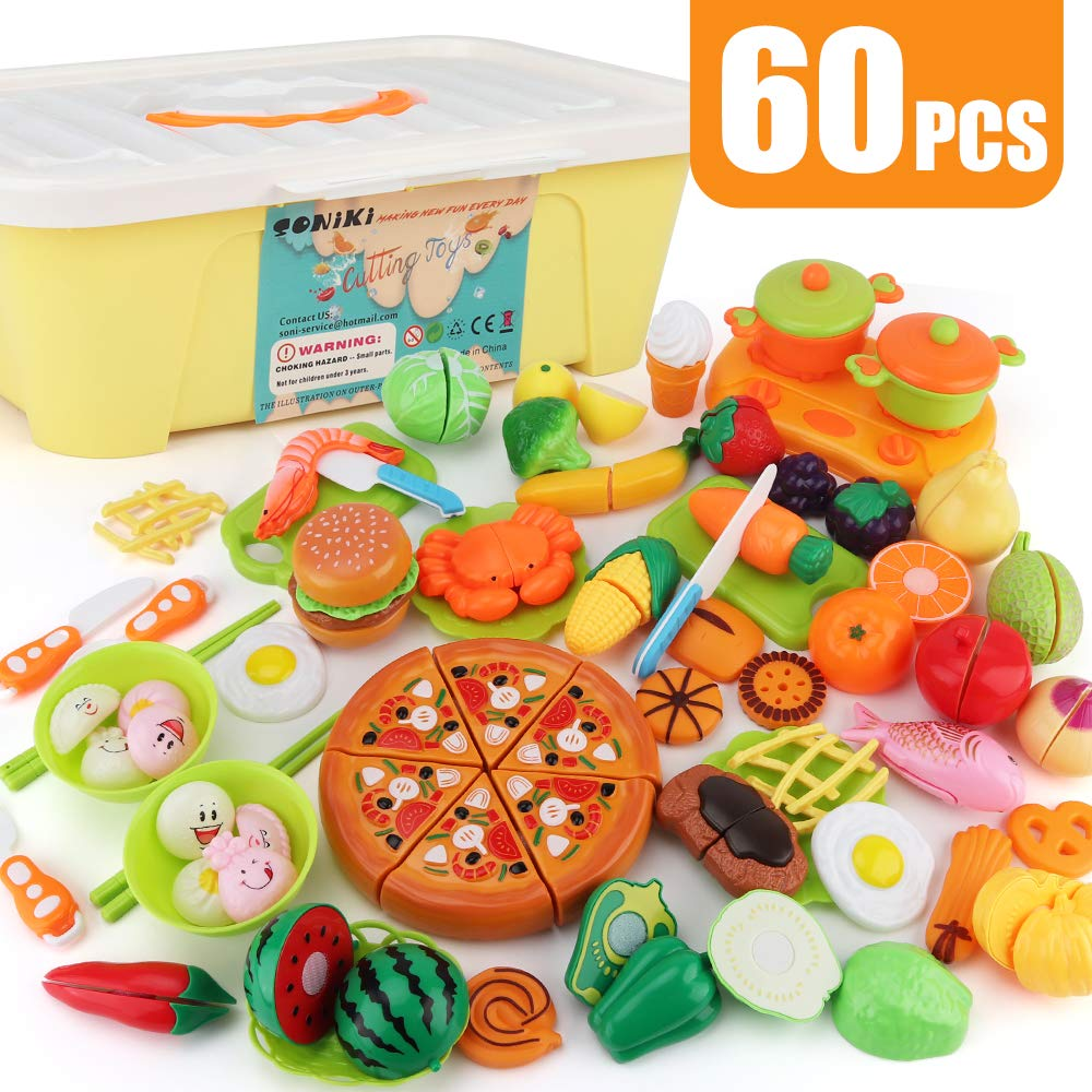 SONiKi 60 PCS Cutting Toys Play Food Kitchen toys for Toddler Kids Plastic Fruits Vegetable Sea Food and Pizza Fast Food set and Chinese dumpling Kitchen Cooking Tools and Tableware with Large Storage