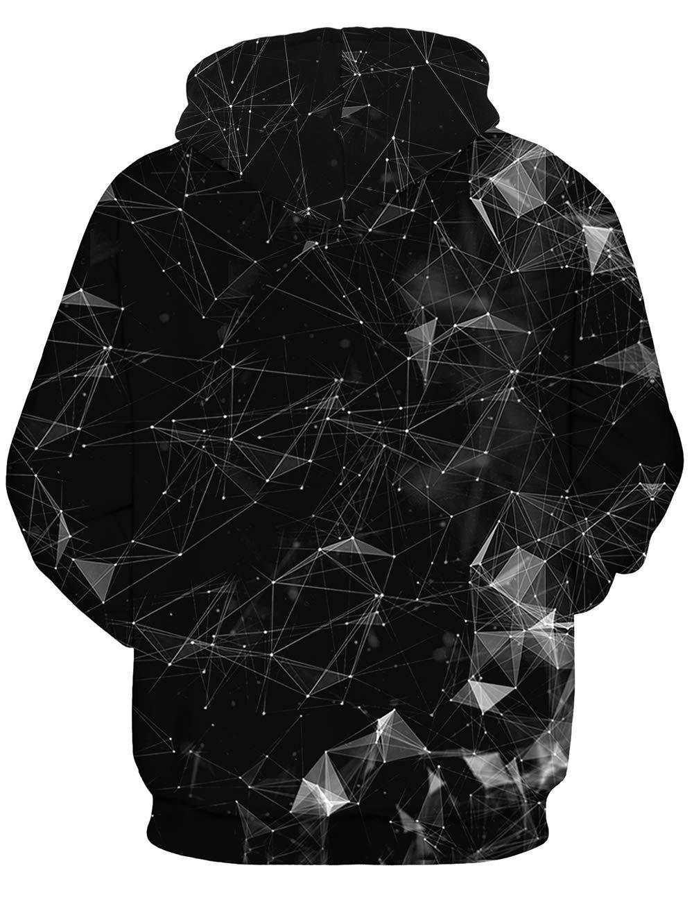 Mens Damen Geometric Hoodies 3D Geometrische Linie Punkt Gedruckt Neuheit Pullover Mit Kapuze Langarm Sweatshirt mit Fleece Futter Schwarz M