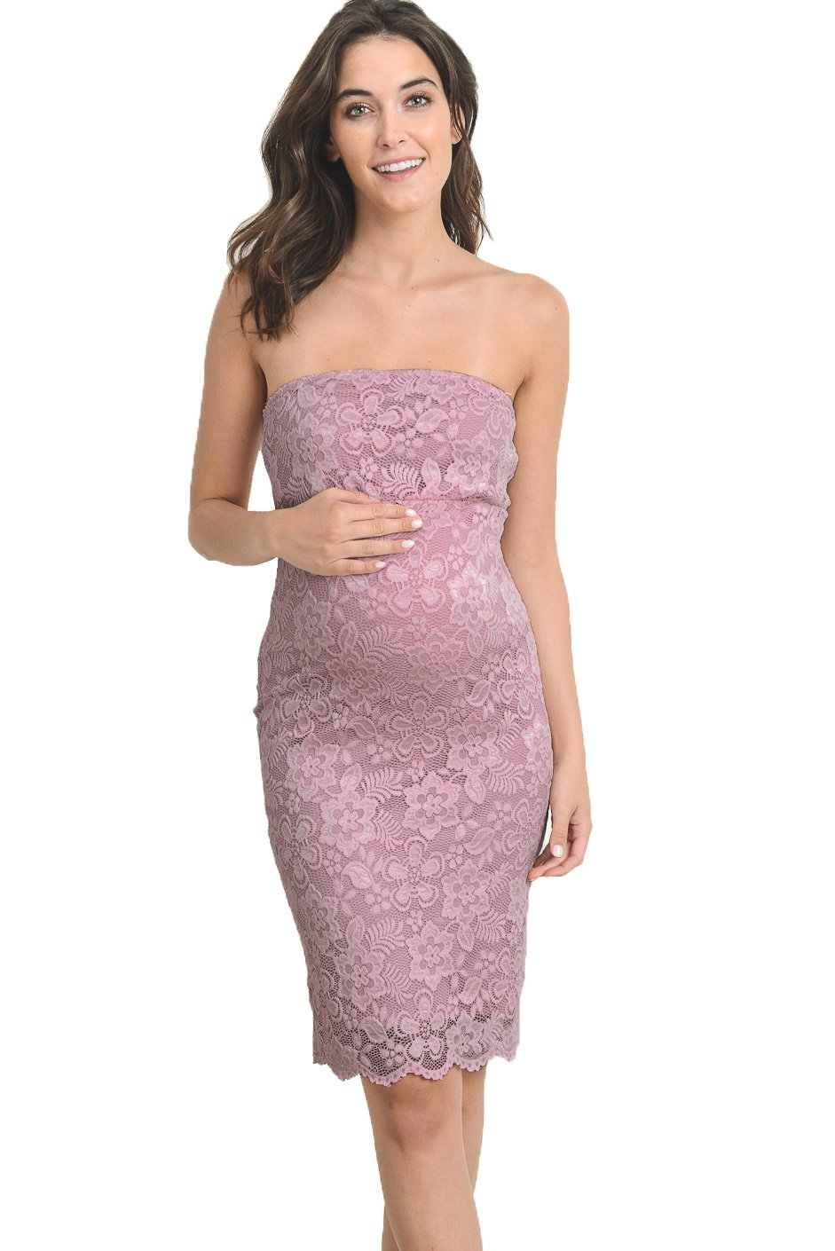 Hello MIZ Women's Floral Lace Strapless Bodycon Tube Maternity Dress(Mauve, X-Large