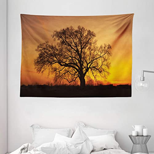 Ambesonne Tree Tapestry, Oak in The Sunset Horizon Golden Yellow Sun Rays Countryside Rural Nature Picture, Wall Hanging for Bedroom Living Room Dorm, 80 W X 60 L Inches, Orange Brown