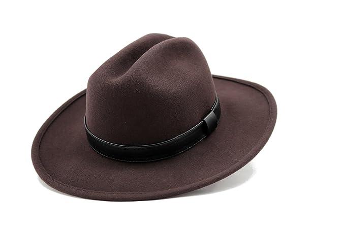 3a15400b06f AccessHeadwear Alpas Men s Wilson Dark Brown 100% Wool Felt Cattleman Cowboy  Hat