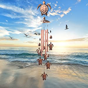 Butterfly Wind Chime Memorial Brass Wind Chimes Deep Tone Garden Chimes- with 4 Tubes and 1 Swivel Hooks Clips with 1 Bagua Mirror, for Outdoor Indoor Decoration and Mom Gift