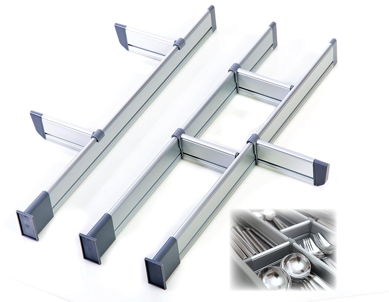 adjustable kitchen drawer dividers elegant aluminum modular organizer 9 ebay. Black Bedroom Furniture Sets. Home Design Ideas