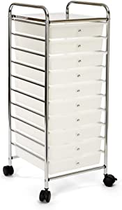 Seville Classics Multipurpose Mobile Rolling Utility Storage Bin Cart on wheels 10-Drawer Organizer, White