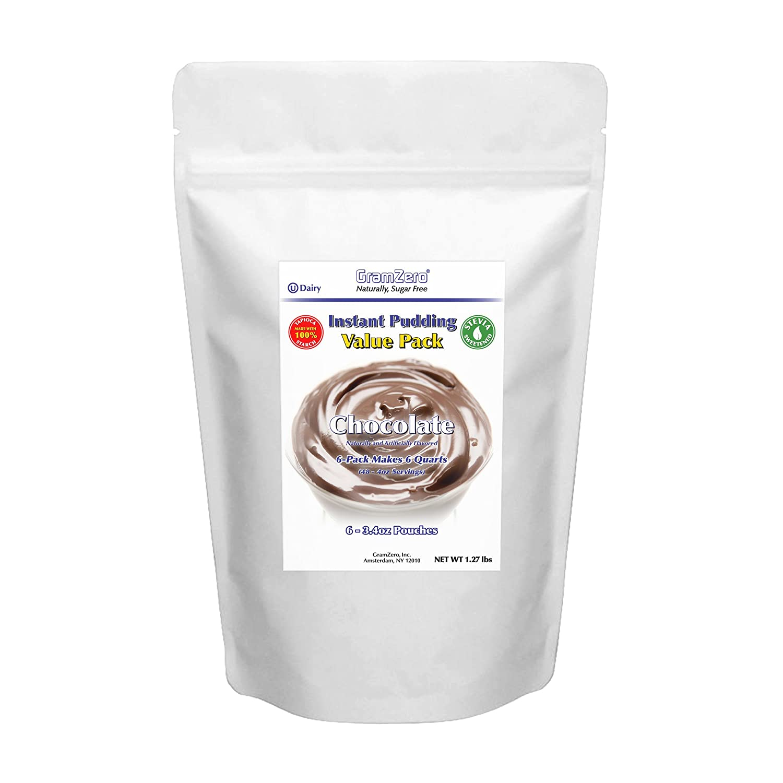GramZero CHOCOLATE Pudding Mix, Large 6/1 QT Yield (48 - 4 oz servings), Stevia Sweetened, SUGAR FREE