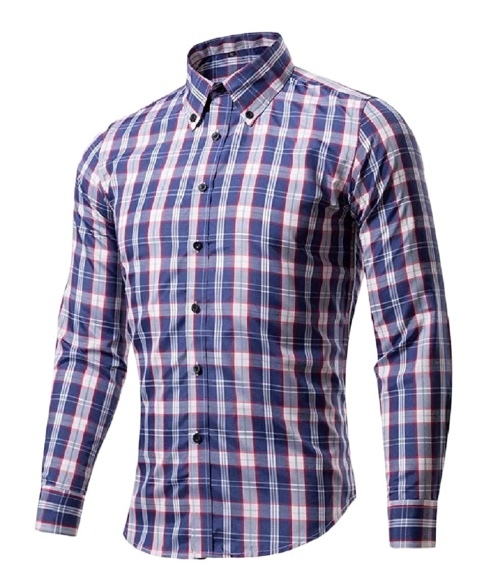 Sweatwater Men Business Tops Checkered Long Sleeve Printing Turn Down Button Front Shirts