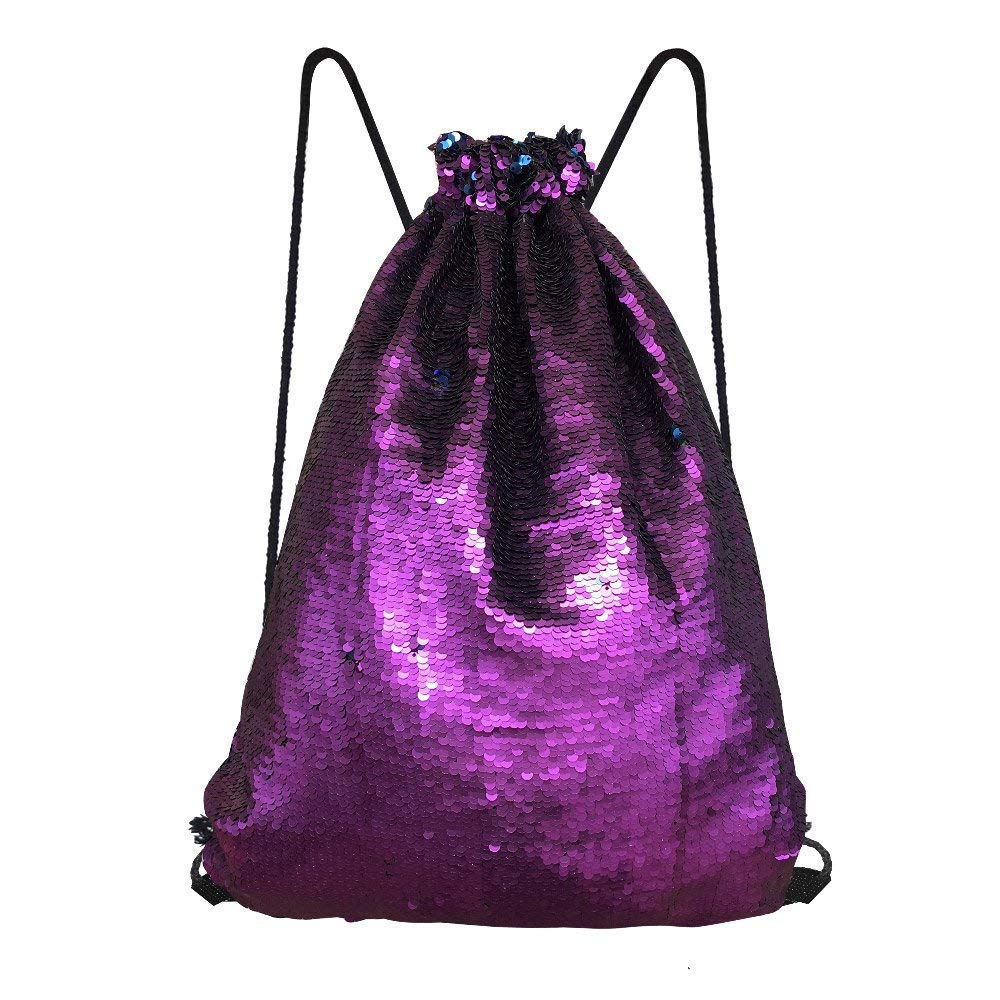 Alritz Mermaid Sequin Drawstring Bag, Reversible Sequin Backpack Glittering Outdoor Shoulder Bag for Girls Boys Women (Matte Aubergine/Navy Blue)