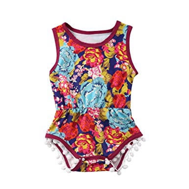 a94d8a4b79b Amazon.com  beBetterstore Floral Baby Girl Romper Infant Kids Summer Sleeveless  Tassel Bodysuit Outfit Clothes  Clothing