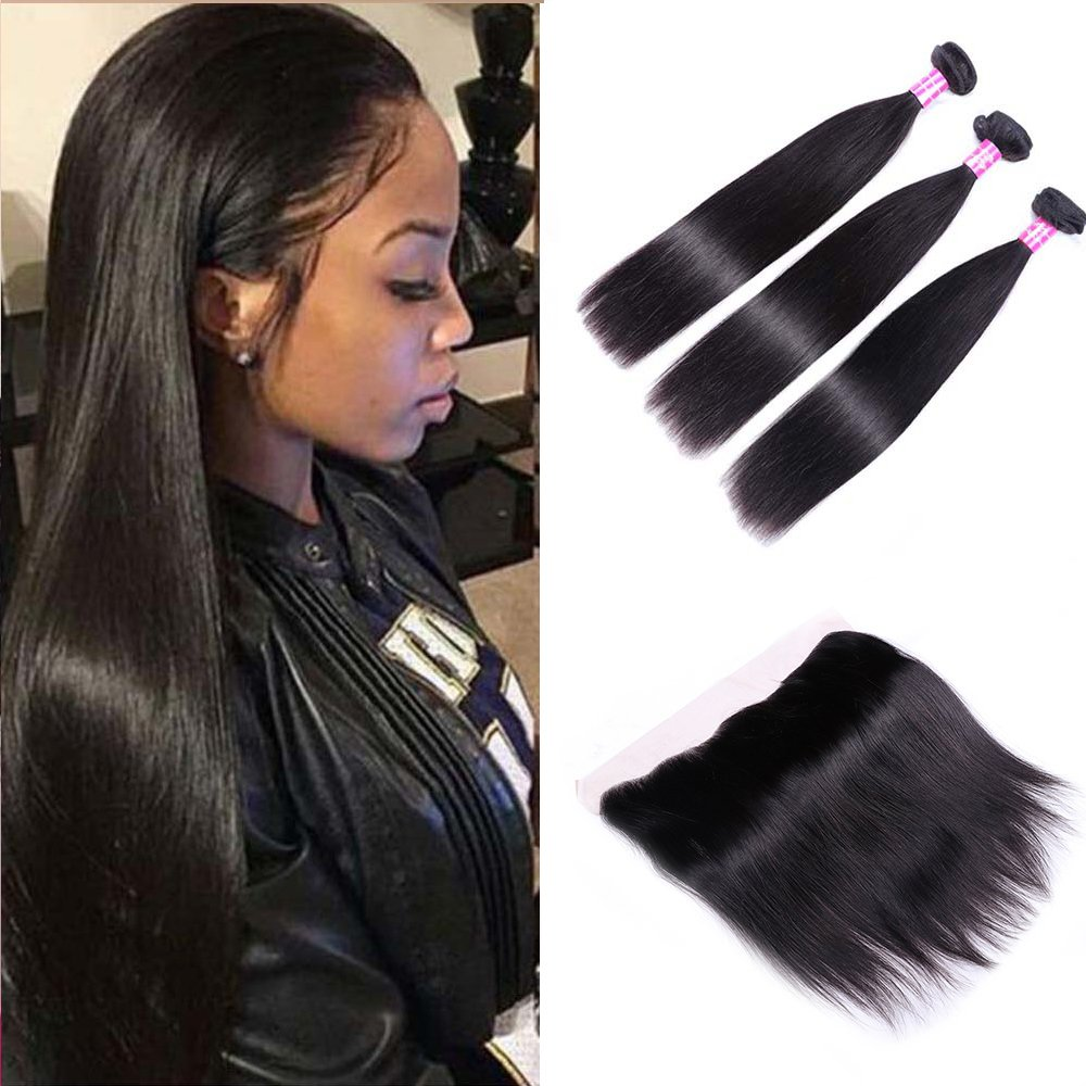 Sterly Brazilian Straight Hair 3 Bundles With Frontal Closure 13x4 Ear To Ear Lace Frontal With Bundles Unprocessed Virgin Human Hair Extensions Natural Color (18 20 22 +16)